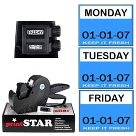 DAY DOT Label Gun - 9 PRESETS MONDAY-SUNDAY USE BY - BEST BEFORE 8 DIGITS FOR DATE CODING