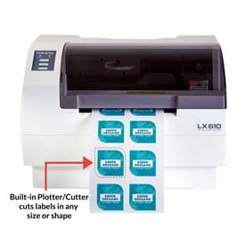 Print and cut custom labels of any shape or size all in one process.